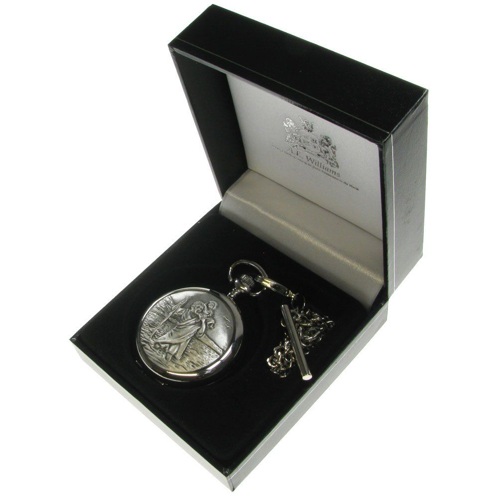 Boy's Christening Gift, Engraved St Christopher Pocket Watch in a ...