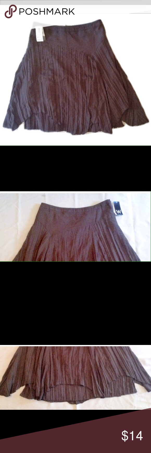 """NEW Work To Weekend Crinkle Skirt JC Penny NEW Work To Weekend Crinkle Skirt JC Penny SIZE 12   •Flare style/crinkle/not crinkle at the tummy area •Front jagged hemline •Side zipper closure •Size: 12 •Wasit: 34 inches around •Length: 22"""" at the shortest point in the front and 26"""" down the back •65% Polyester, 35% Rayon •Lining: 100% Polyester  I try my best to capture the color/shade. The actual shade may very from the photos.  Thank you so much! Work ro Weekend JC Penny…"""