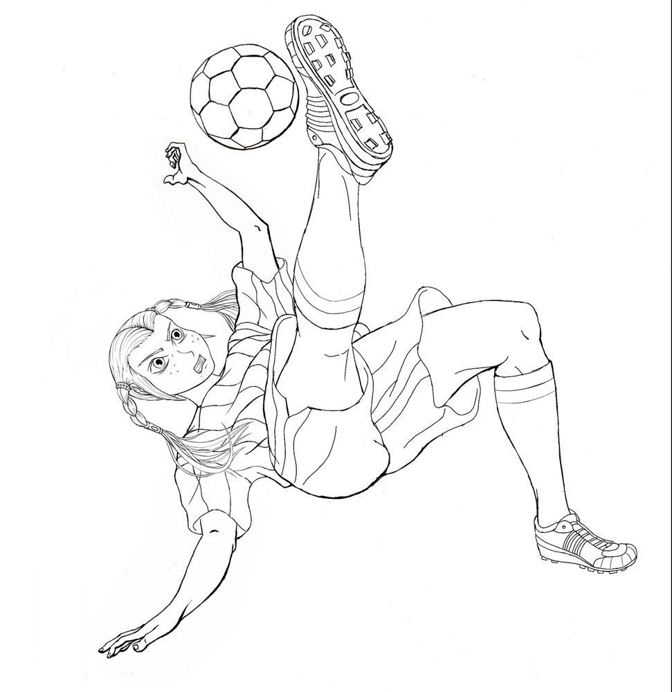 girl playing soccer coloring page of 800x1050px
