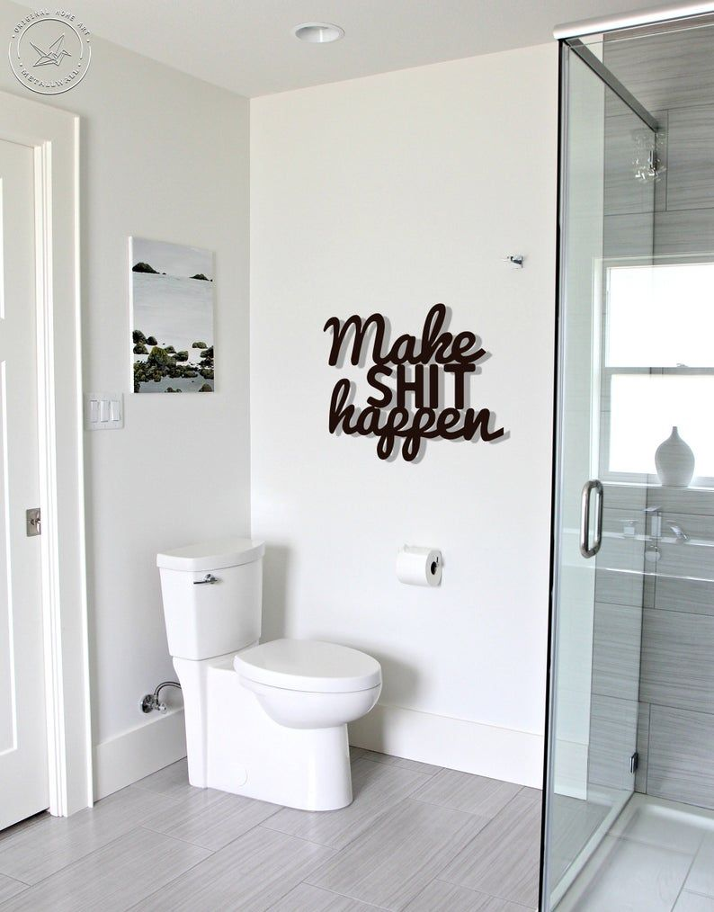 No Selfies In Bathroom Metal Letters Bathroom Wall Art Home Etsy Toilet Trends Small Toilet Room Small Downstairs Toilet
