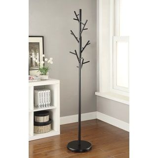Beautiful Black Metal Walnut Wood Hall Tree Coat Hat Rack