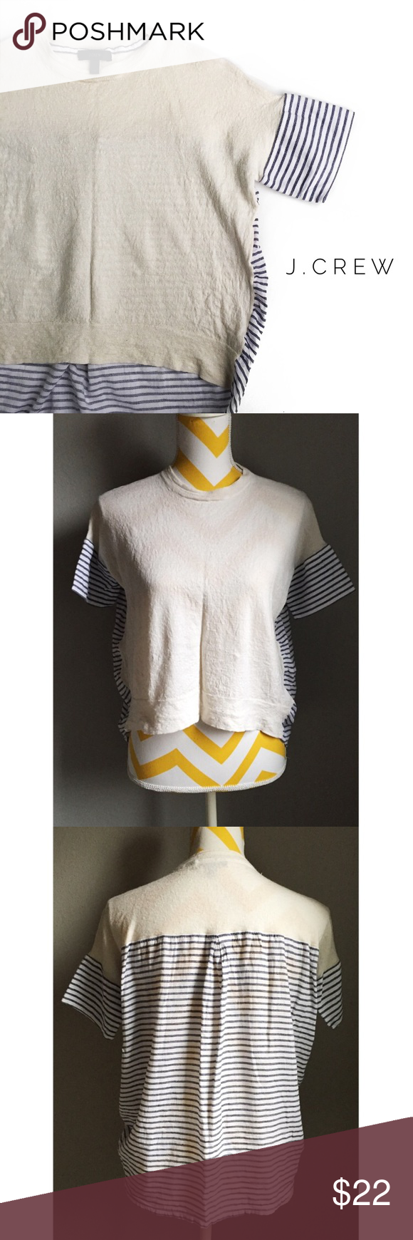 • j.crew wool blend knit top • condition: pre-owned. this knit top is in great condition and so cute! the front is a wool blend and the back is a cotton blend. the fit is a high low top. can fit XXS, XS, and can fit S but will be a bit tighter. the coloring of the stripes are a grayish blue. J. Crew Tops