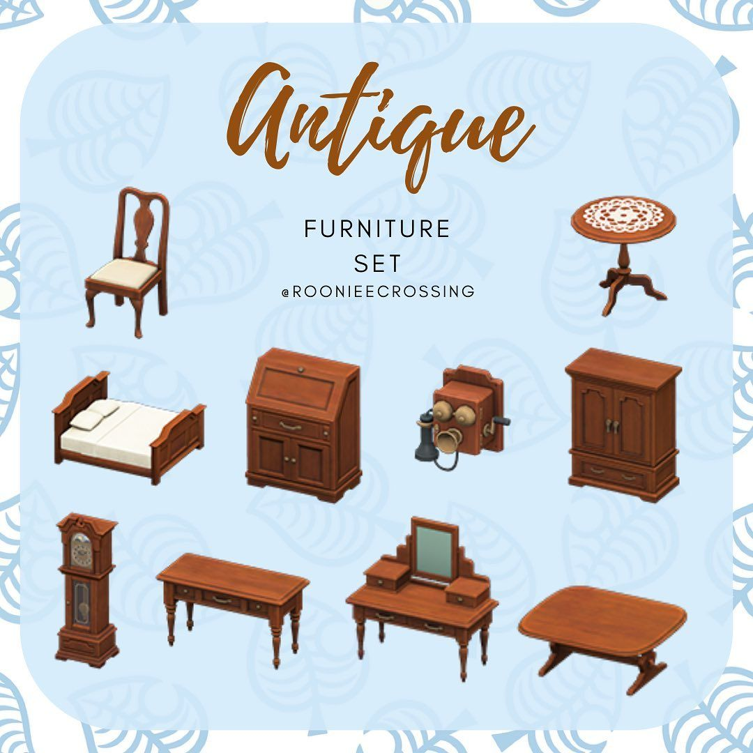 The Antique Furniture Set This Set Comes In Black Cherry And Light Wood Stains You Can Animal Crossing Funny Animal Crossing Pc Animal Crossing Villagers Acnh antique bedroom ideas