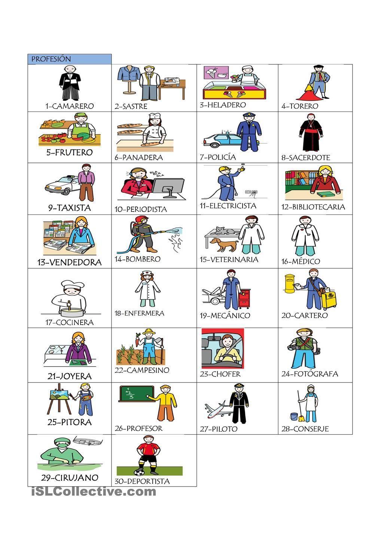 Profesiones Oficios Y Profesiones Ejercicios Para Aprender Espanol Lectura De Comprension