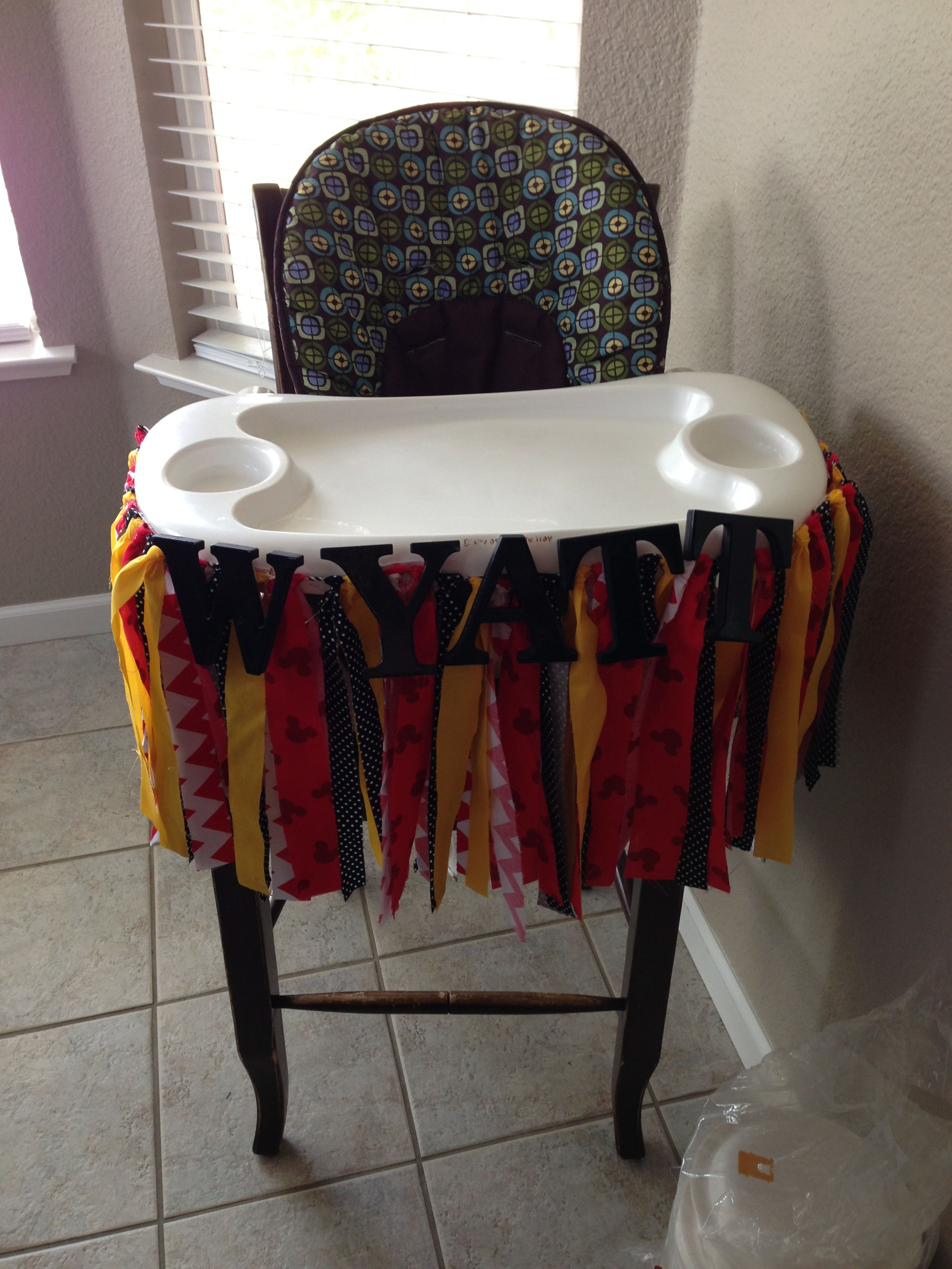 Mickey Mouse Birthday High Chair Decorations Handmade Fabric Banner And Hobby Lobby Block Letters