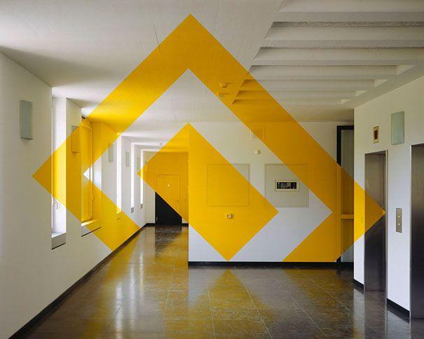 Swiss artist Felice Varini creates amazing anamorphic illusions