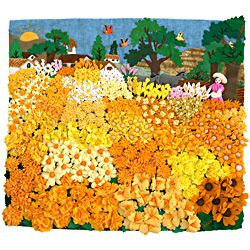 Yellow Flower Field Medium 3D Arpillera Art Quilt - Lucuma Designs