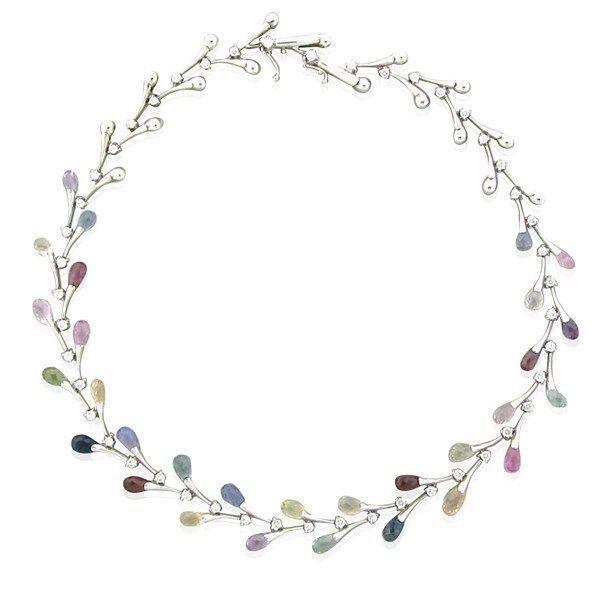 Stefan Hafner 18k White Gold 1.80ctw Diamond Sapphire Necklace