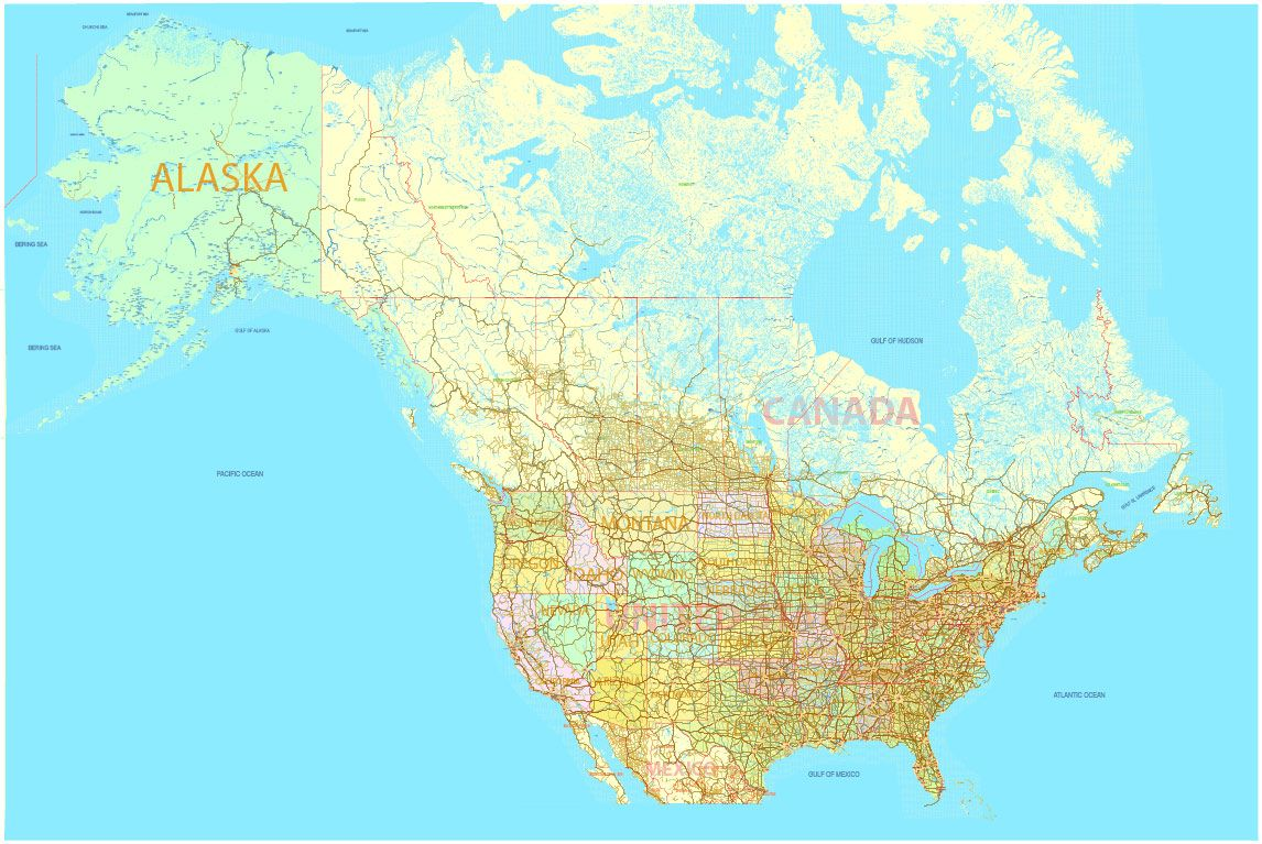 PDF Map US and Canada with all Roads, Cities, States, all names ...