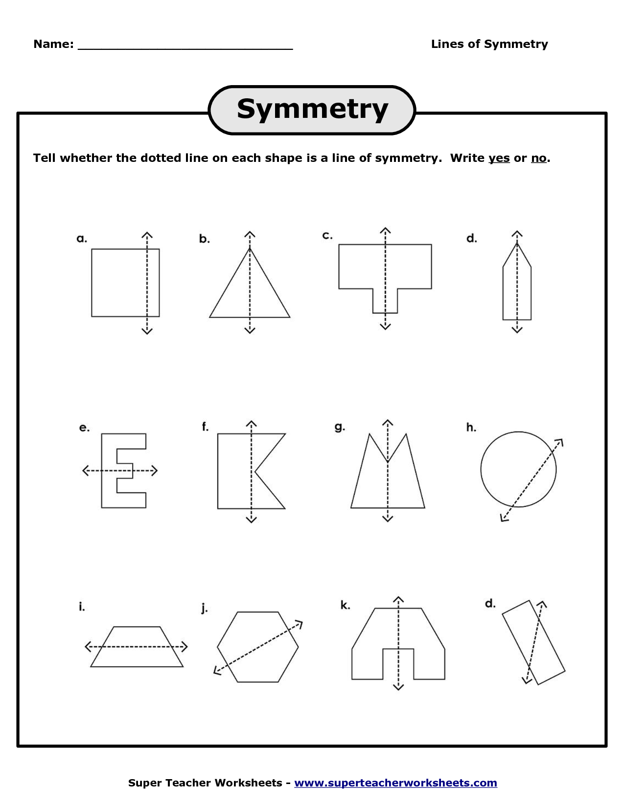 Line Symmetry Worksheets