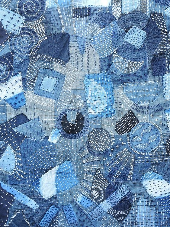 handmade and DIY: 'freestyle' sashikoproject met jeanslapjes/with denim scraps #blue