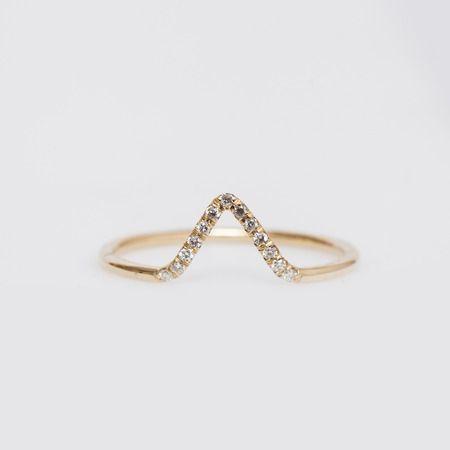 WWAKE - 14K Gold/White Diamond Micropavé Triangle Ring