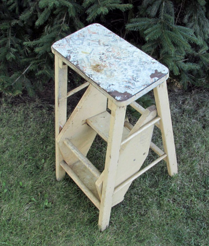 Shabby Chic Step Stool Ladder Combination Convertible Etsy