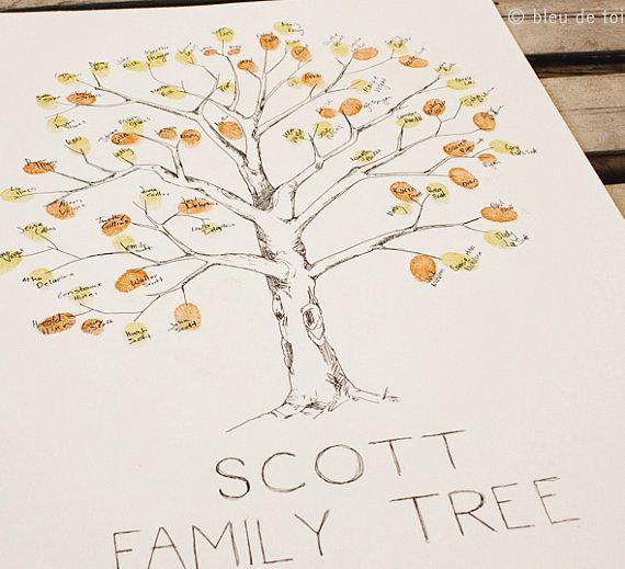 Small Fingerprint Live Oak Tree Wedding Guest Book Hand Drawn: Family Tree With Fingerprints! Great Family Reunion Idea
