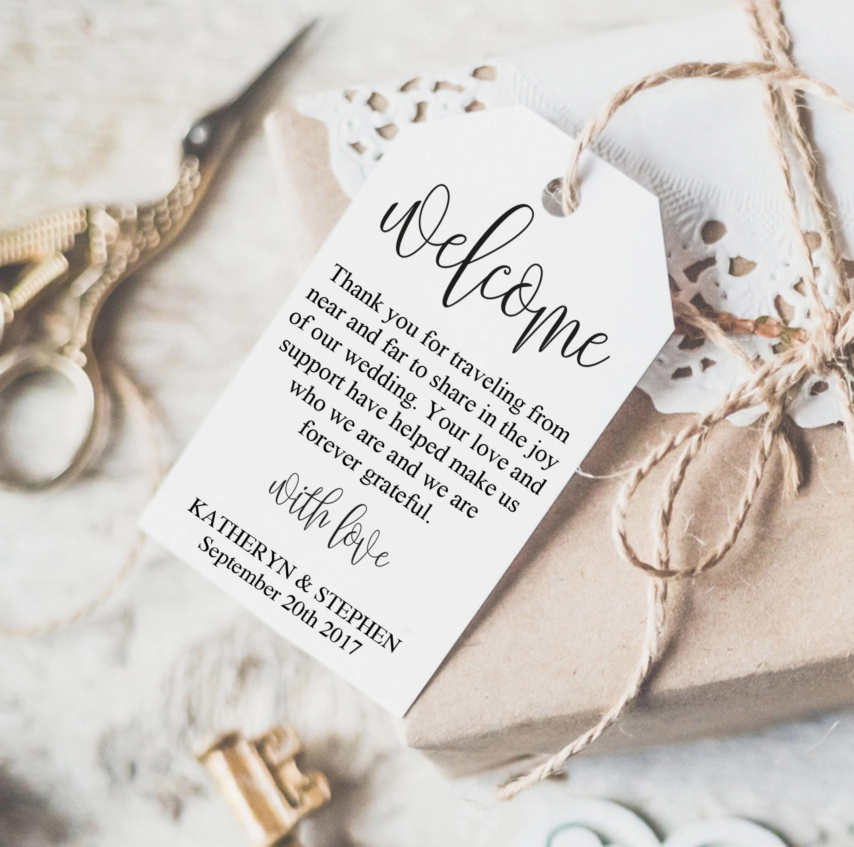 Wedding Welcome Tag | Printable Wedding Gift Tags | Rustic Wedding ...