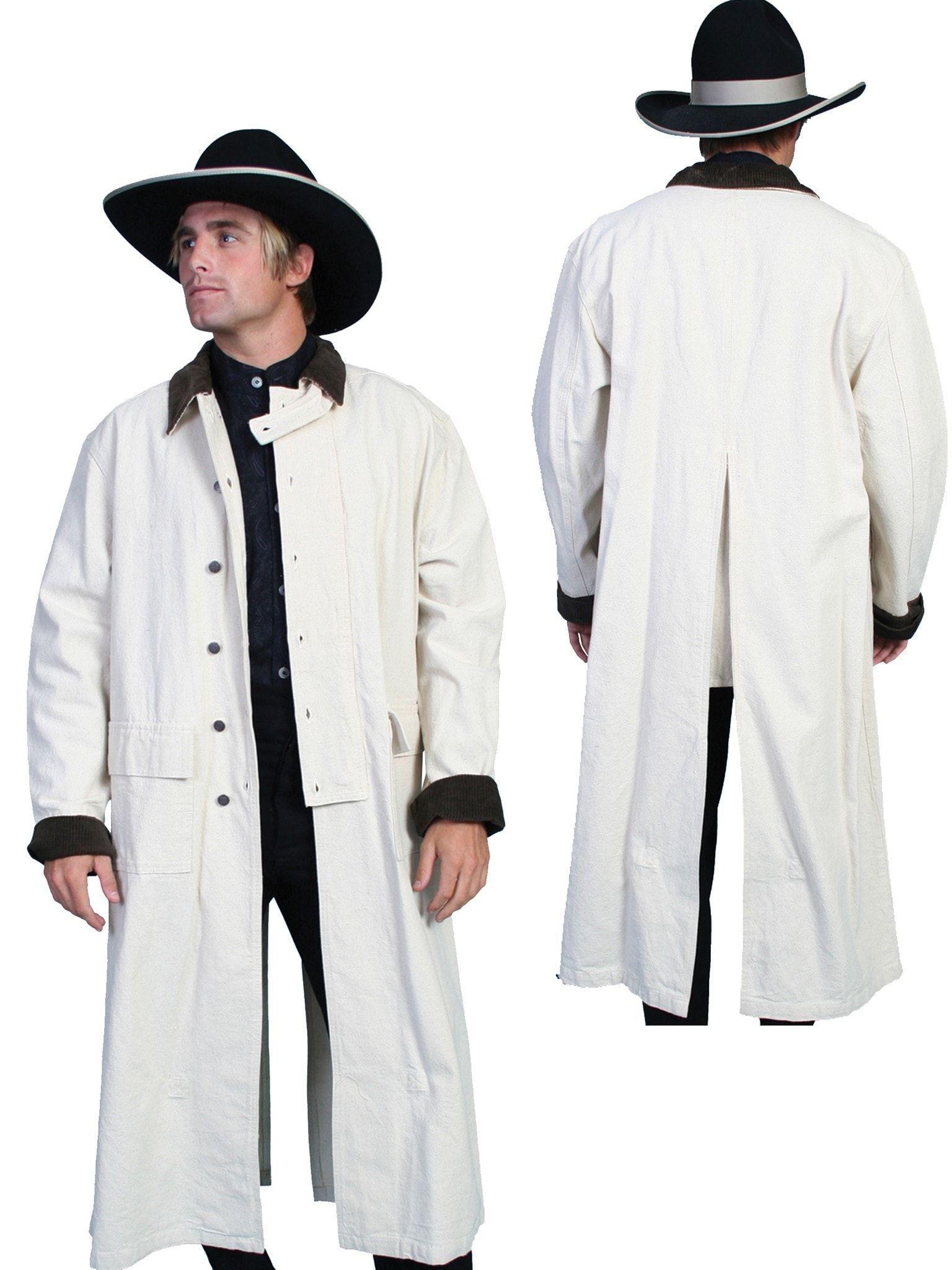 Scully Rangewear Mens Natural 100 Cotton Long Overcoat Duster Coat In 2020 Men S Coats And Jackets Long Overcoat Western Wear