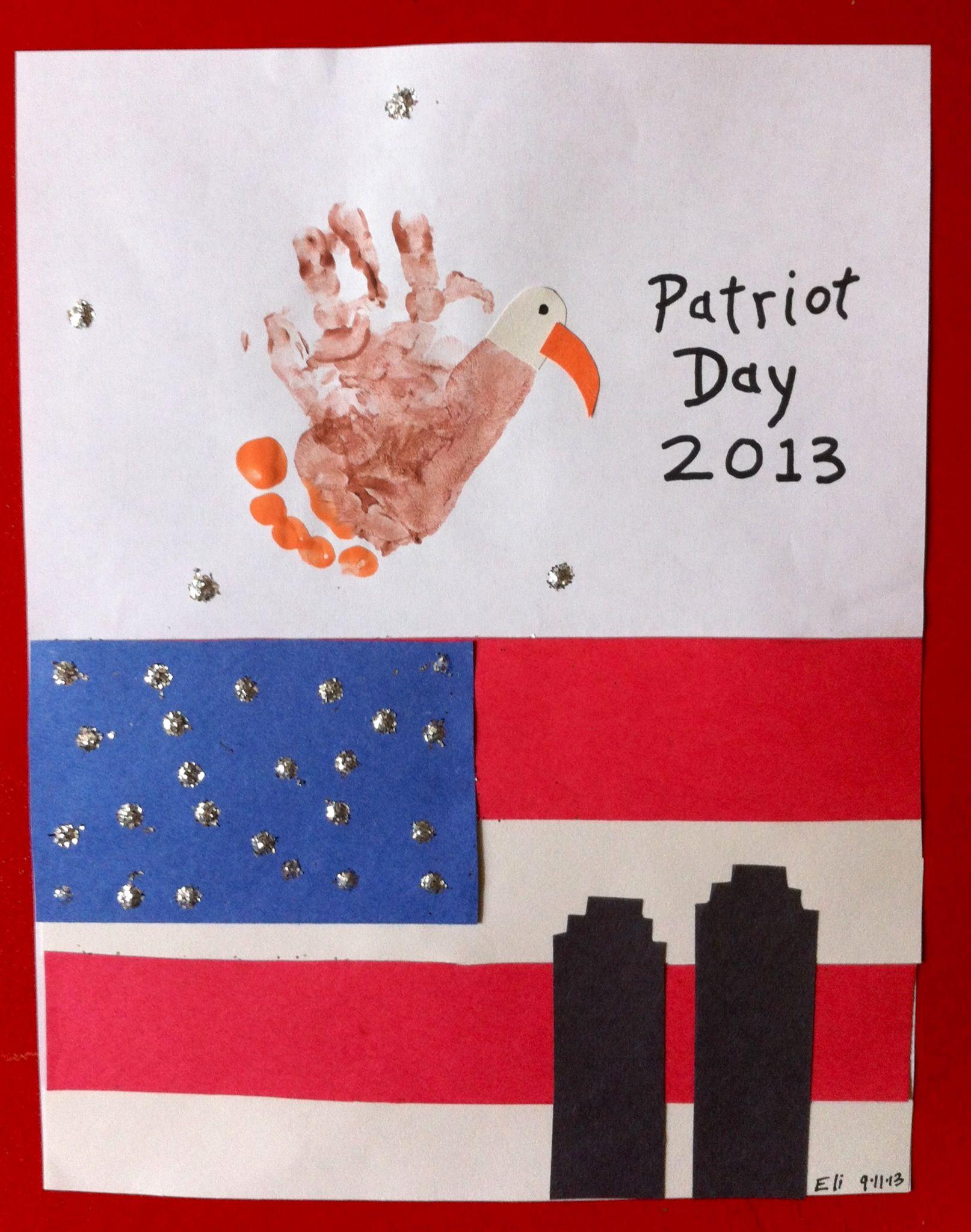 Patriot Day Footprint Handprint Craft Patriotday 9 11 Twintowers Handprint Crafts Elementary School Fun Footprint Art