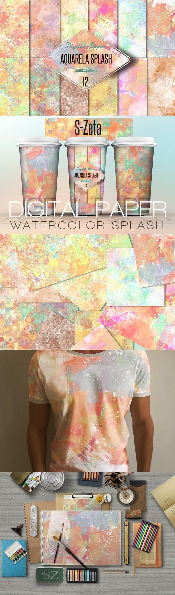 Watercolor splash-digital paper. Patterns