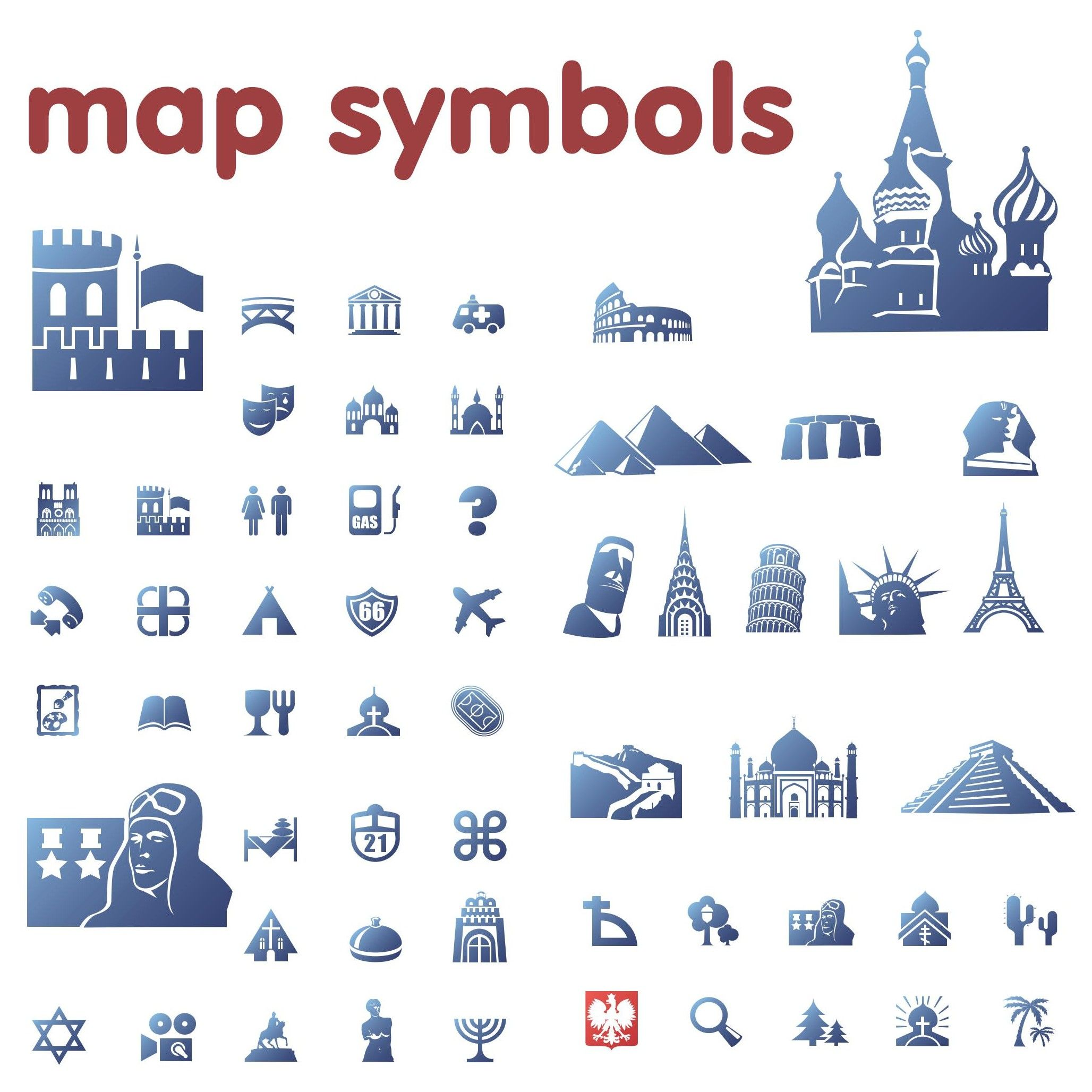 Blue Map Symbols Download Vector With Images