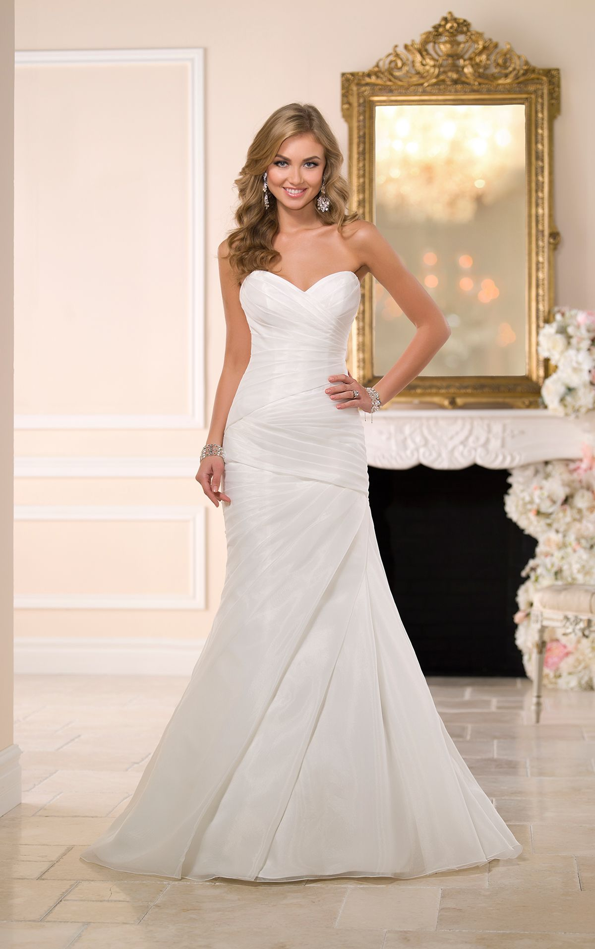 Look Through Sweetheart Neckline Strapless Fit And Flare Wedding Gowns Featuring An Asymmetrical Ruched Bodice Skirt With A Full Just Below The