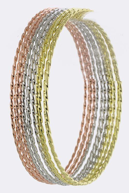 3 Tone Delicate Twisted Bangle Bracelet