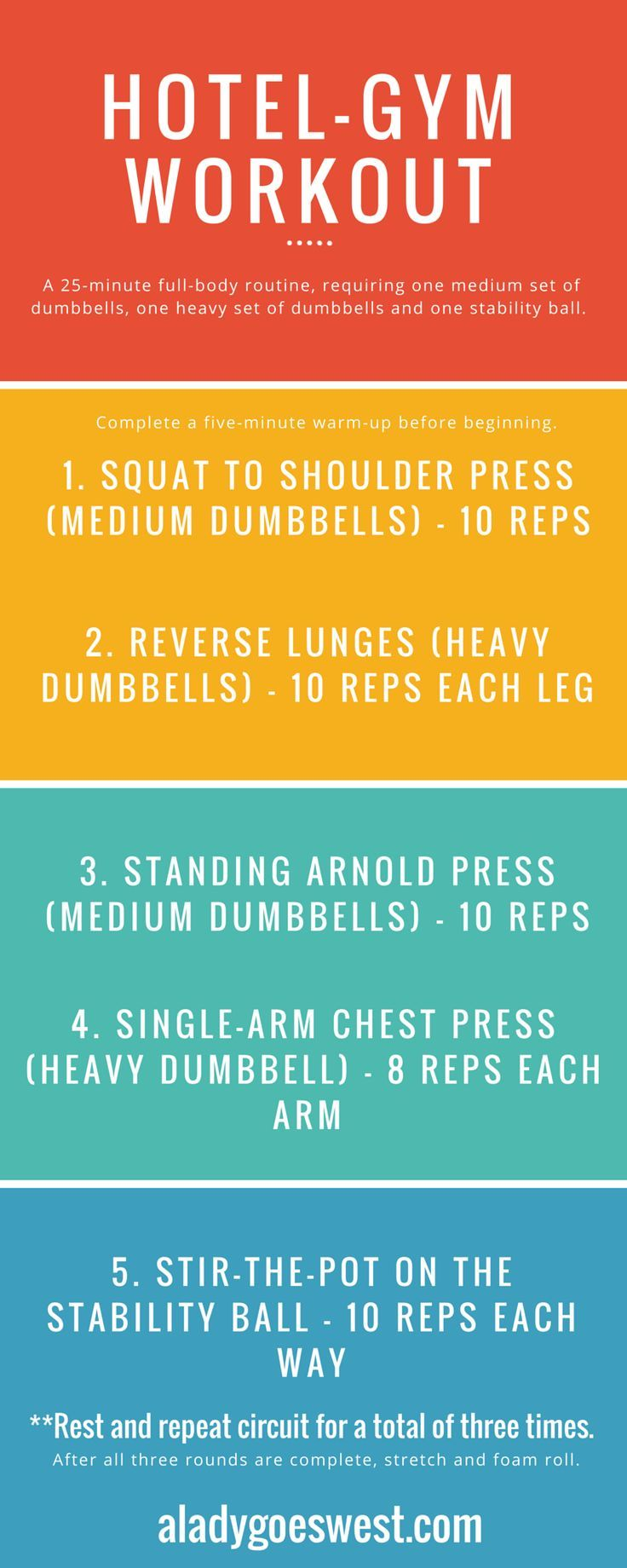 A short-on-time hotel-gym dumbbell workout | A Lady Goes West #dumbbellworkout