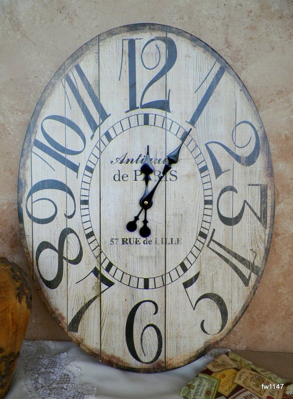 Wooden Large Antiquite De Paris Oval Wall Clock Large Wall Clock Country Wall Clock Large Wall Decor