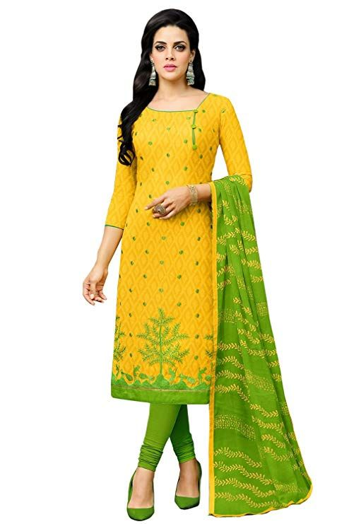 122c64fbbf Salwar Kameez Home . M.R.P.: 799.00 Price: 749.00 You Save: 50.00 (6%) Applecreation  Women'S Cotton Jacquard Dress Materials (Yellow_11Drd1008_Free Size)