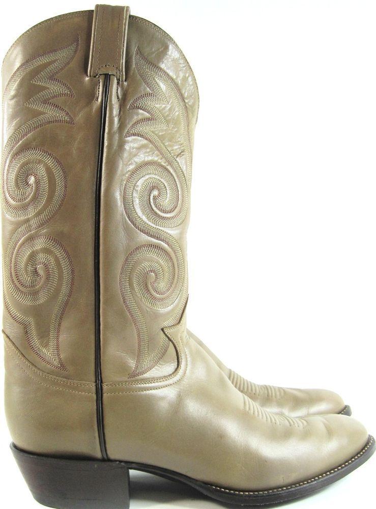 Tony Lama  Men Western Boots Size 10.5 D Khaki Style 6944 Made USA. ABA 16 #TonyLama #CowboyWestern
