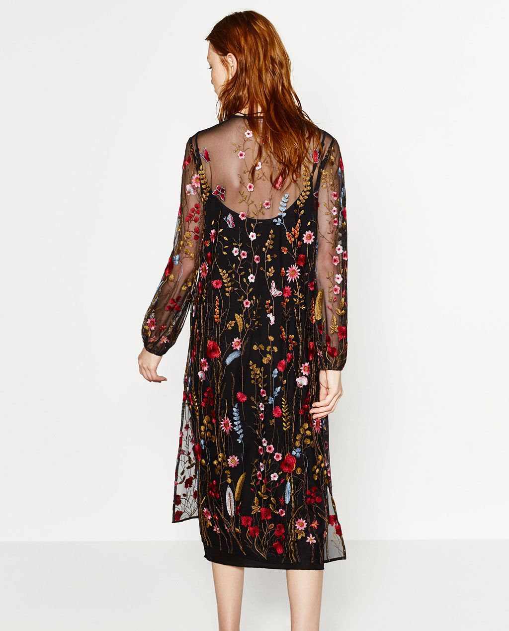 Zara Long Embroidered Floral Midi Dress Zara Long Embroidered Dress. Size  XS. OUTER SHELL