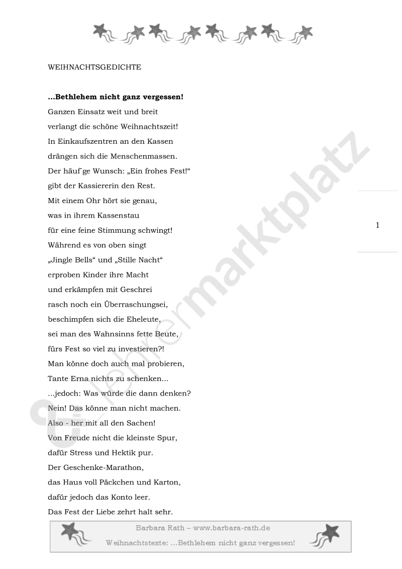 Bethlehem nicht ganz vergessen! Weihnachtsgedicht – Deutsch ...