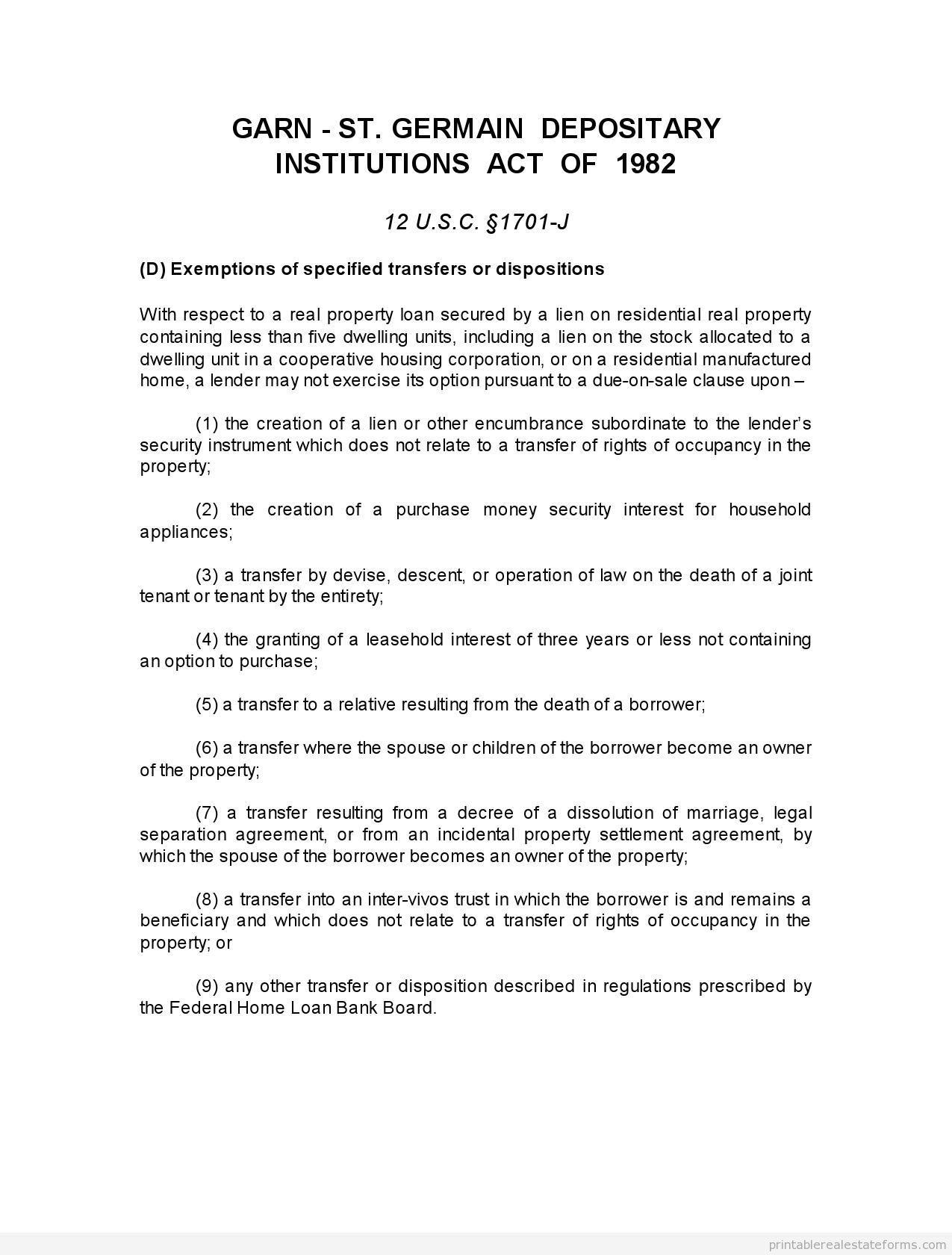 Free Printable Gann St Germain Act Form Word Template Word