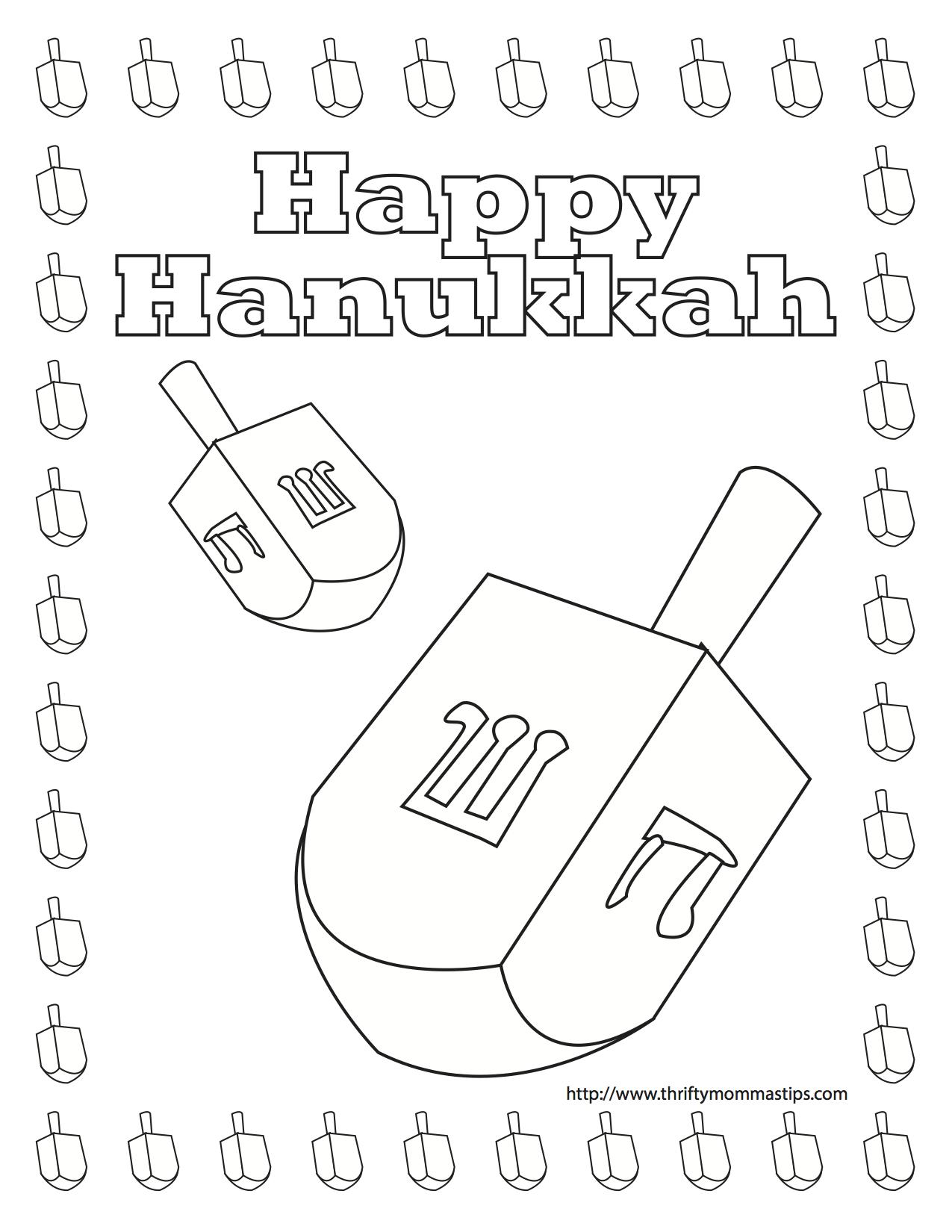 Happy Hanukkah Free Printable Dreidel coloring pages