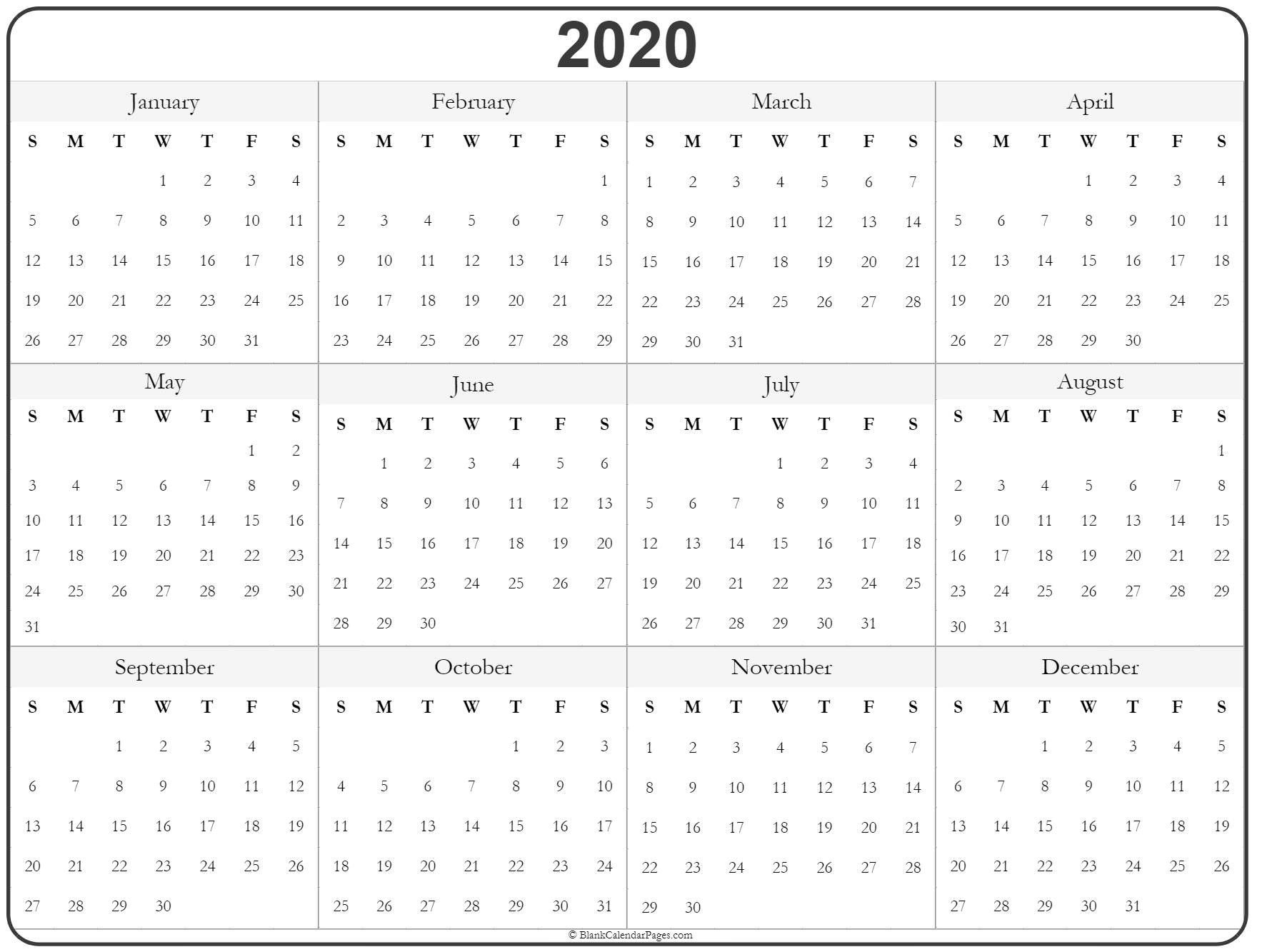 Free Printable Yearly Calendar 2020 Printable Yearly Calendar