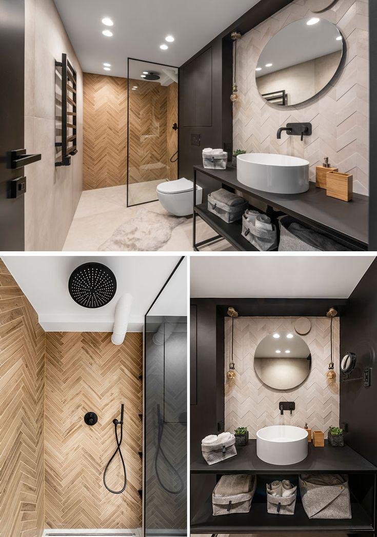Dieses Moderne Badezimmer Ist Mit Fliesen Ausgestattet Die In