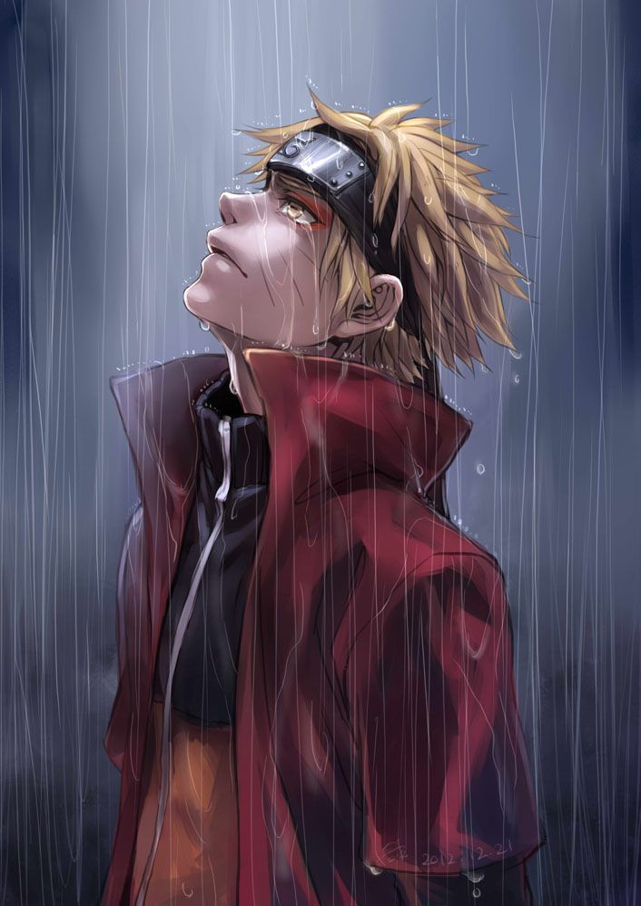 naruto painting standing in the rain in sage mode tokyomask tears