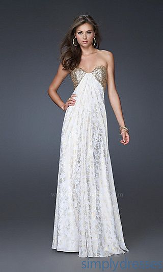 Strapless White & Gold Prom Dress by La Femme at SimplyDresses.com ...