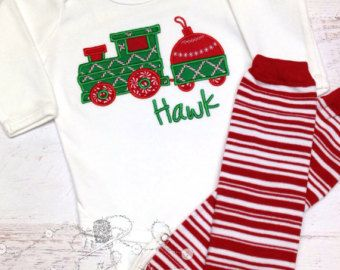 c521e7a95 Baby Boy Christmas Outfit - First Christmas - Bodysuit & leg warmers - Christmas  Train - Toddler Christmas Shirt - Christmas Train Shirt