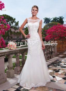 Diseño moda Fit y la llamarada de novia de la boda vestidos Appliqued escote barco de encaje JA071