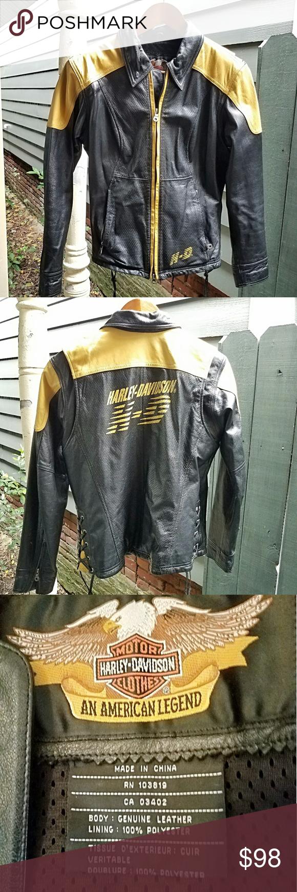 Harley Davidson Black Yellow Leather Jacket Sz S Leather Jacket Yellow Leather Jackets [ 1740 x 580 Pixel ]