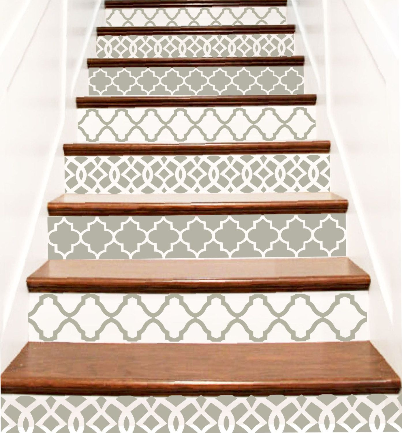 decorative vinyl stair tile decals trellis decor steps riser stickers your choice of color. Black Bedroom Furniture Sets. Home Design Ideas