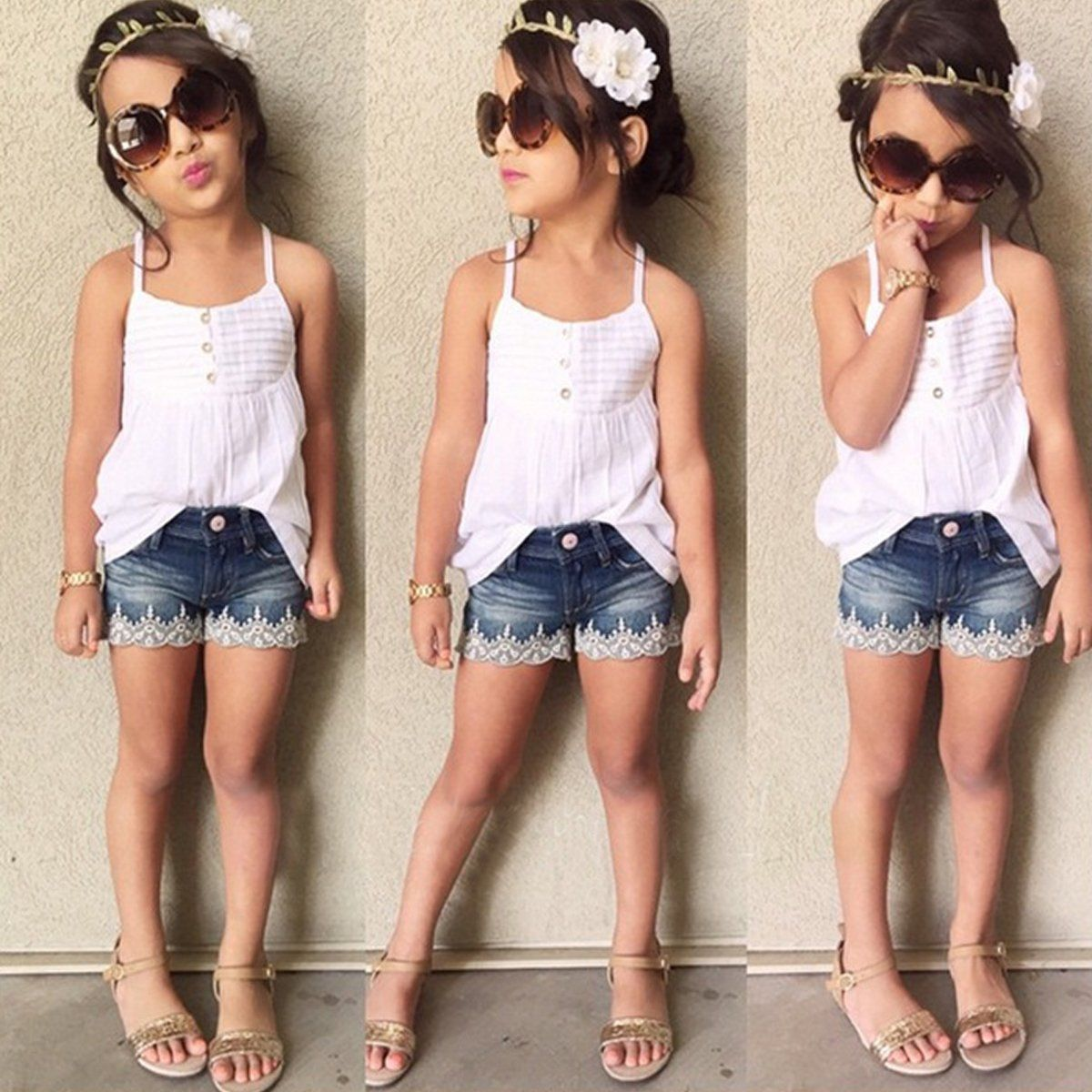 8427623da9f2  9.64 - 2Pcs Toddler Infant Girls Outfits Tank Top T-Shirt Dress+ ...