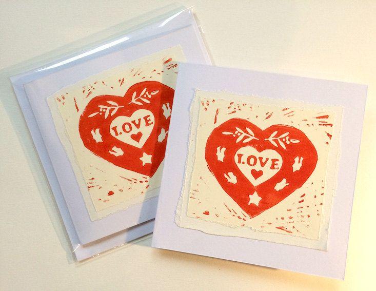 handmade lino print 'love' cardsartbycarldurban on