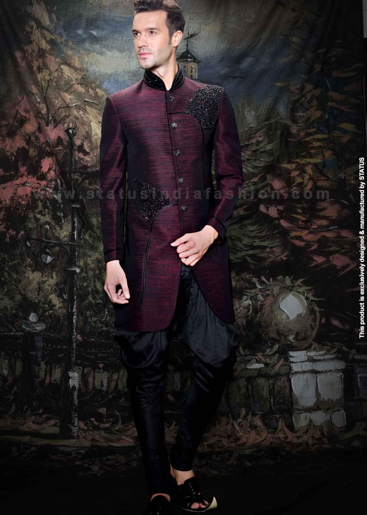 Velvet Sherwani Indian Wedding Wear Groom Best