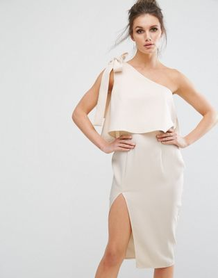2055e01606a Missguided One Shoulder Bow Detail Midi Dress | Dress in 2019 | One ...