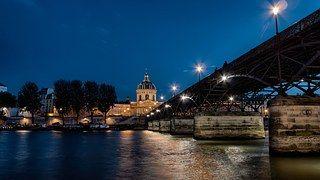 Seine Joki, Silta, Pont Des Arts, Yö
