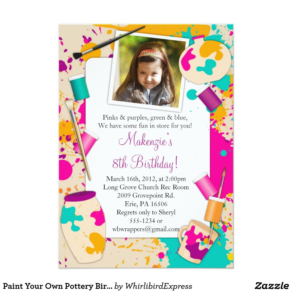 Paint Your Own Pottery Birthday Party Invitation | { Happy Birthday ...