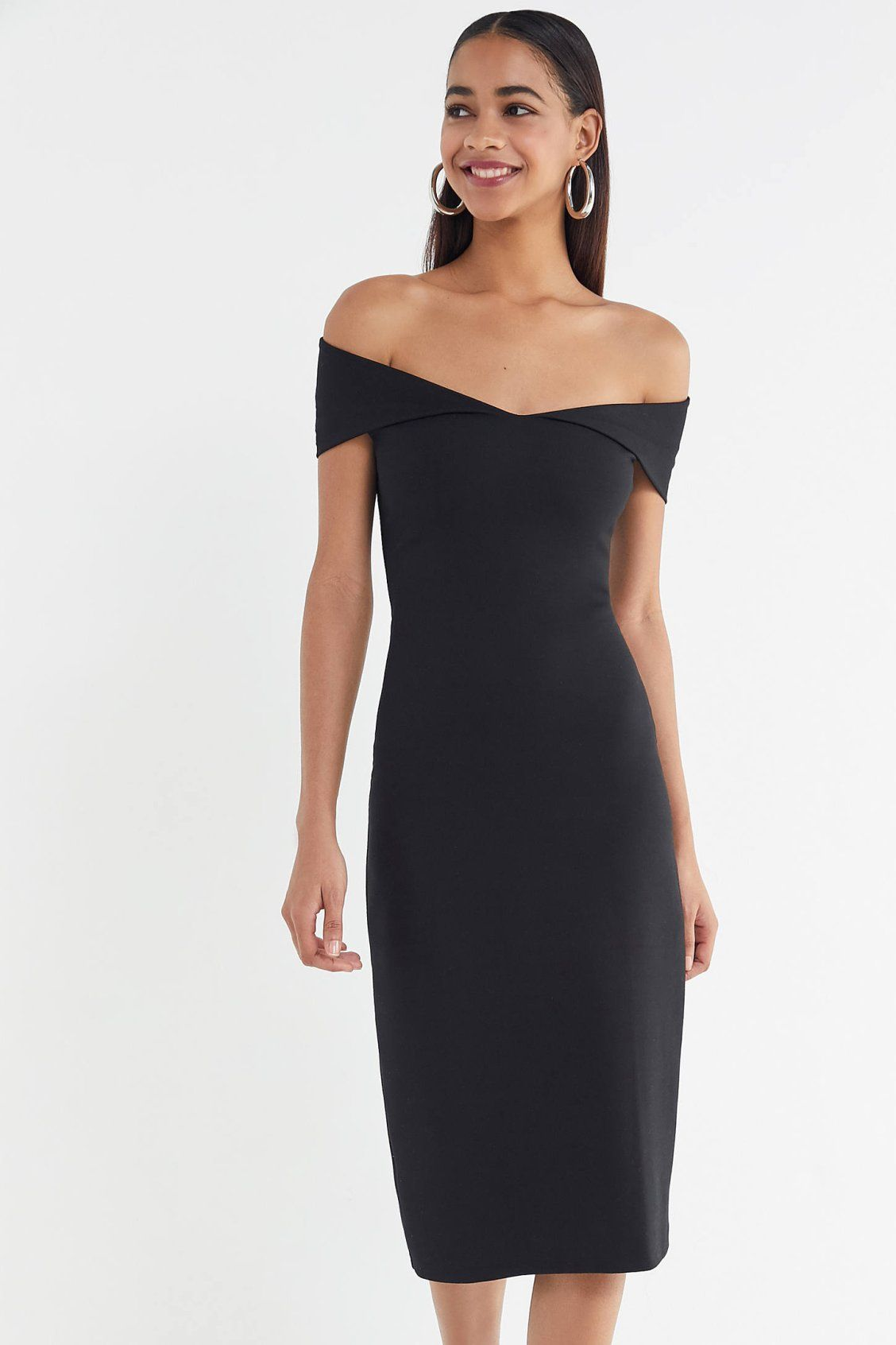 9e0eb6f6980 UO Mary Kate Ponte Off-The-Shoulder Midi Dress in 2019