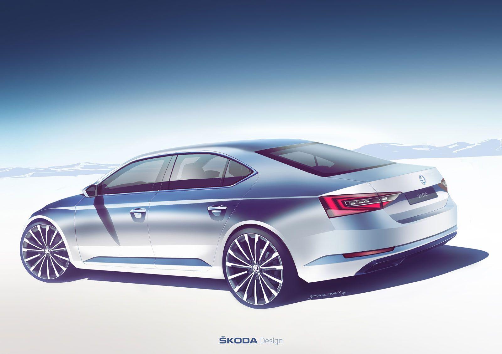 01 New Skoda Superb Design Sketch 02 Jpg 1600 1131 Skoda