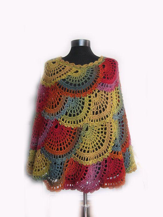 Crochet poncho, Multicolor Capelet, Boho Poncho Cape Cowl,Women ...